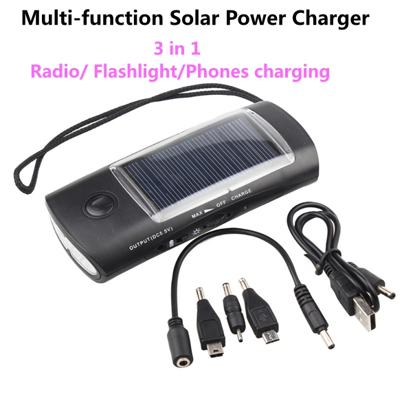 High Quality Multi-function 3 in 1 Solar Power Charger Flashlight FM Radio for Cell phones MP3 MP4 Free Shipping Wholesale(China (Mainland))
