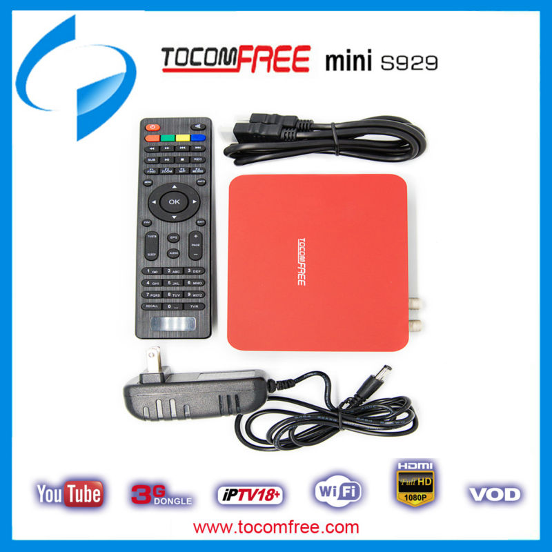 NEW TOCOMFREE MINI S929 HD IPTV PVR TWIN 3G FTA SATELLITE RECEIVER HDMI IKS SKS(China (Mainland))
