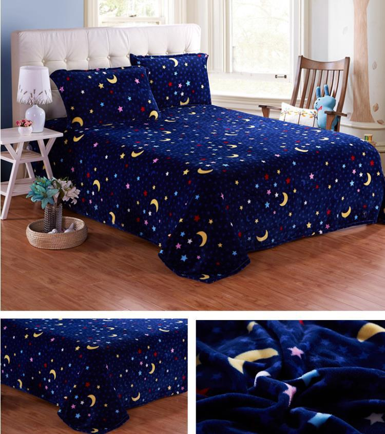 New arrival wonderful world nick comfortable fashion black star and moon coral fleece fabric bedding blanket (size 180*200cm)(China (Mainland))