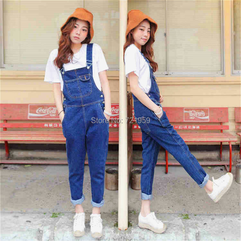 New Korean version of the influx of women denim overalls trousers 2016 spring and summer new large size loose strap kz07(China (Mainland))