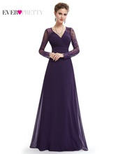 Formal Evening Dresses Ever Pretty HE08692PP Women's Elegant V-neck Long Sleeve Lace Plus Size Evening Dress(China (Mainland))