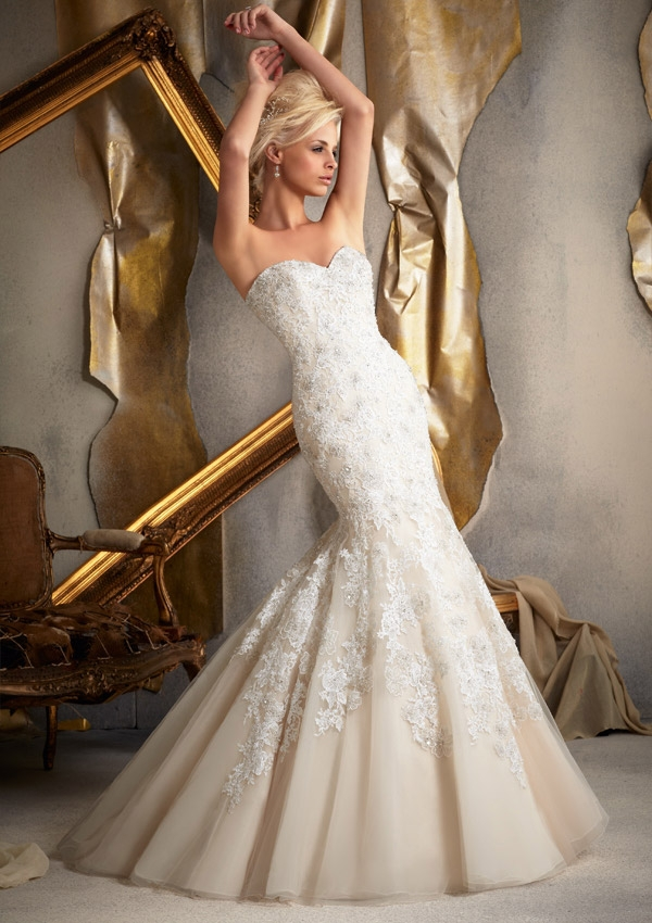 sweetheart long tulle mermaid wedding dress bridal gown with lace