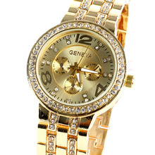 Geneva Bling Crystal Women Girl Unisex Stainless Steel Quartz Wrist Watch  Free Shipping & Drop Shipping