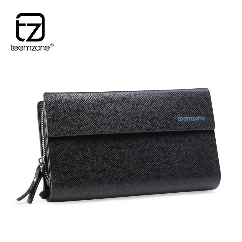 teemzone top fashion mens genuine leather cowhide day clutch wrist handbag zipper purse checkbook organizer cellphone holder <br><br>Aliexpress