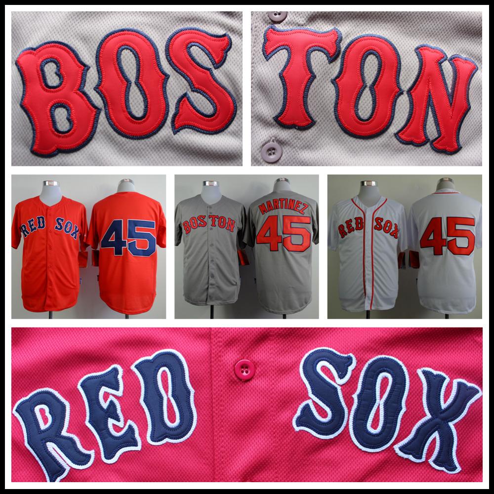 Pedro Martinez Jersey Boston Red Sox 45# Baseball Jersey Authentic Stitched Baseball Shirt Gray Red White(China (Mainland))