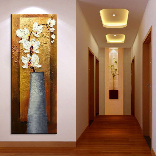 Free shipping, high-end hand-painted wall art decorative painting, modern home decor, orchid quadros de parede sala estar(China (Mainland))