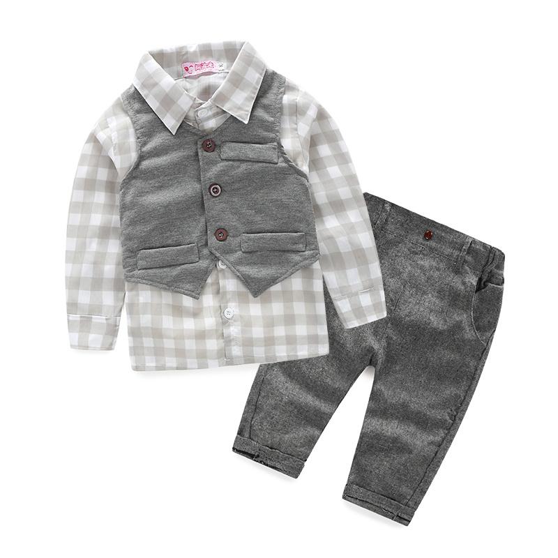 Newest 2015 Autumn Baby Boys Gentleman Suits Infant/Newborn Clothes Sets Kids Vest+Lattice Shirt+Pants 3 Pcs Sets Children Suits(China (Mainland))