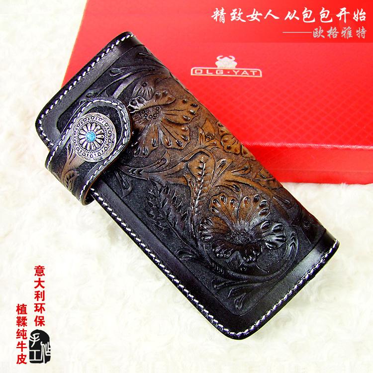 Hong Kong OLG. YAT Retro National style handmade carving tang grass leather wallets women long style hand bag ladies wallet(China (Mainland))