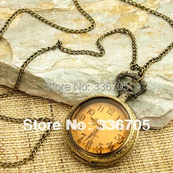 Min.Order 5pcs  Antique Bronze Round Necklace Pendant Clock Watch  HOT Sale!