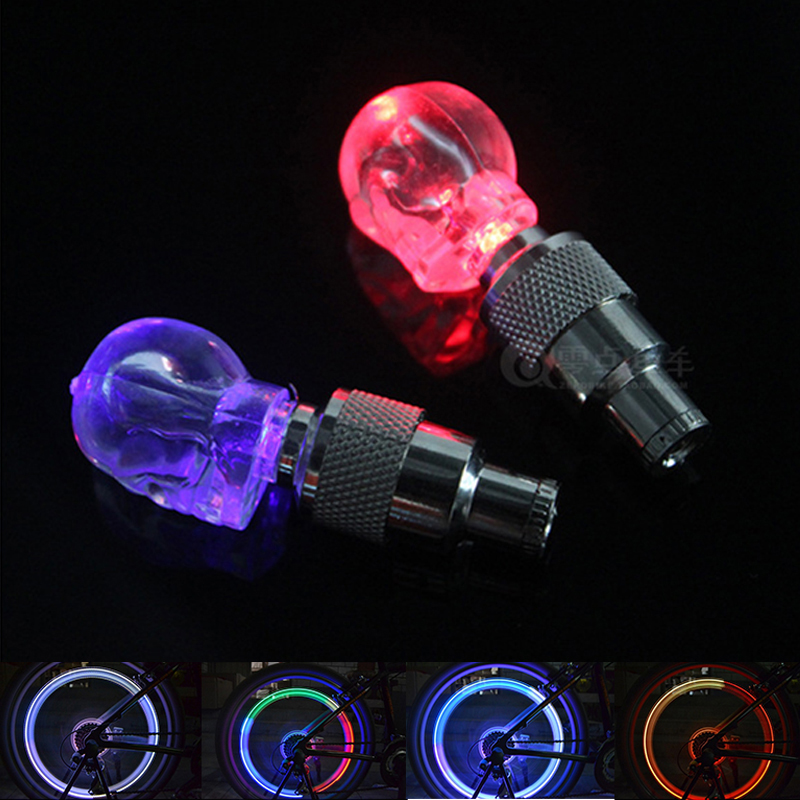 2pcs Skull MIX LED Flash Light Neon Lamp Night Bike Car Tire Tyre Wheel Valve Bicycle Bike Light Caps SM023