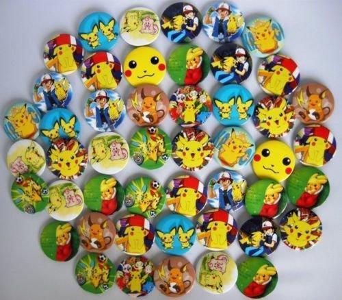 45MM Pokemon poke monster Fashion  badge 48pc Lot F0 safe pin back animation moive cartoon cloth bag characters