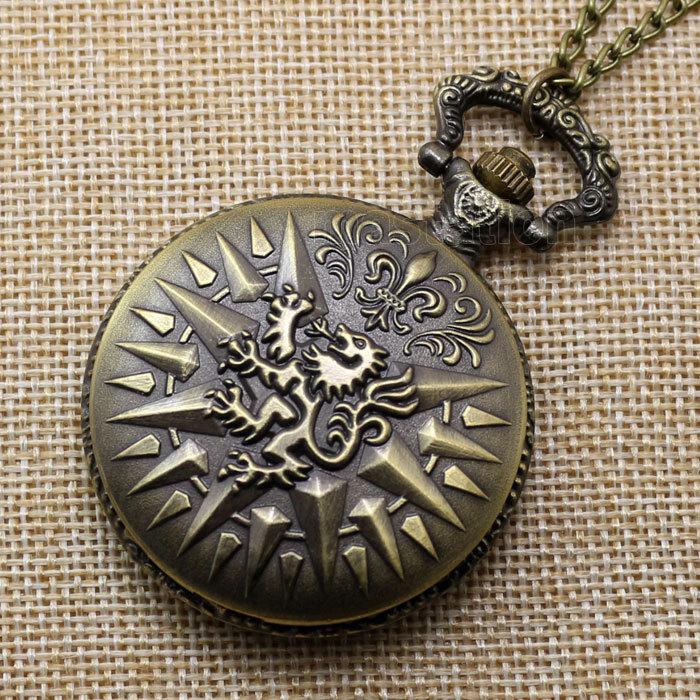 Cool Bronze Retro Dragon Pendant Pocket Watch Chain Men Women Quartz Watch P209(China (Mainland))