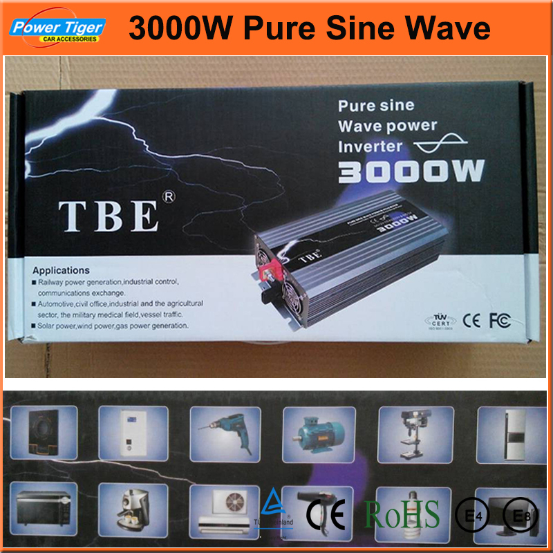 Free Shipping New Arrive 3000W Power Inverter Pure Sine Wave USB DC 12V to AC 220V Solar/Wind/Car/Gas Power Generation Converter(China (Mainland))