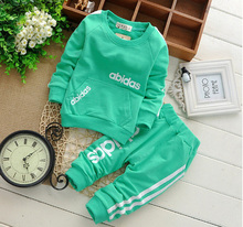 Free shipping 2015 spring new children cotton long sleeved track suit two clothing set Children set