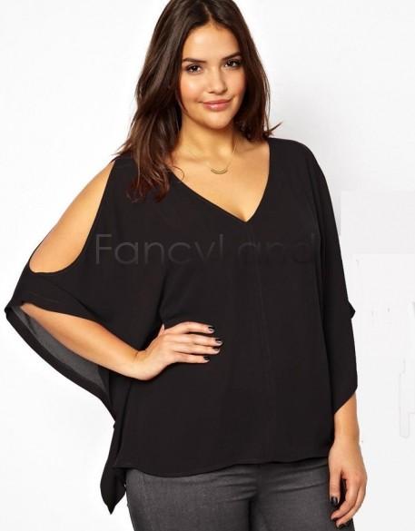 3XL - 6XL Plus Size Lady Women's Casual Blouse Sexy V-Neck Batwing Sleeve Shirt Chiffon Shirt Black Red Summer Tops Shirt %k(China (Mainland))