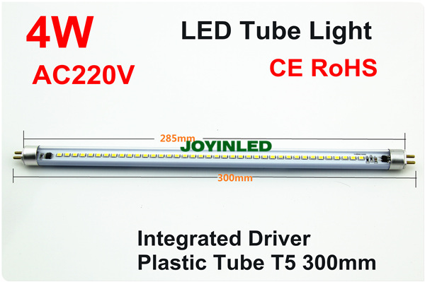 Dimmable t5 led tube 300mm 4W 220V home mirror front plastic tube replace Fluorescent light(China (Mainland))