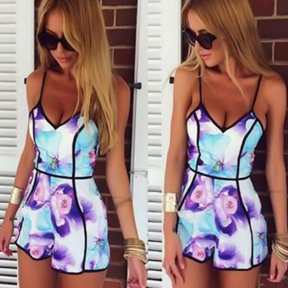 2015 Summer Style Women Print macacao feminino Slim Fit Deep V Sleeveless Flower Vest Shorts playsuit Plus Size Rompers JumpsuitОдежда и ак�е��уары<br><br><br>Aliexpress