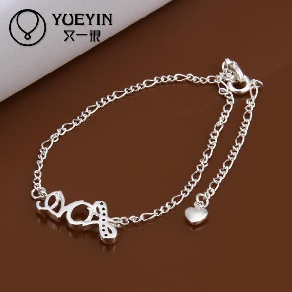 2015 Newest Trendy Foot Bracelets Jewelry Accessories Love Cards Pendant Anklets, Silver Ankle Foot Bracelets For Women A001(China (Mainland))