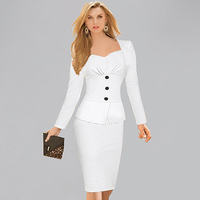 Womens Dresses 2015 Long Sleeve Bandage Bodycon Pencil Dress White Grey Plus Size Woman Office Dress Work Wear Robe Vestidos