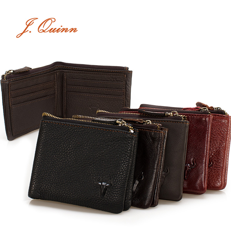 J.Quinn Womens Short Wallets Bifold Wallet Mini Genuine Leather Cowhide Casual Retro Zipper Coin Purse Card Holder Famous Brand(China (Mainland))