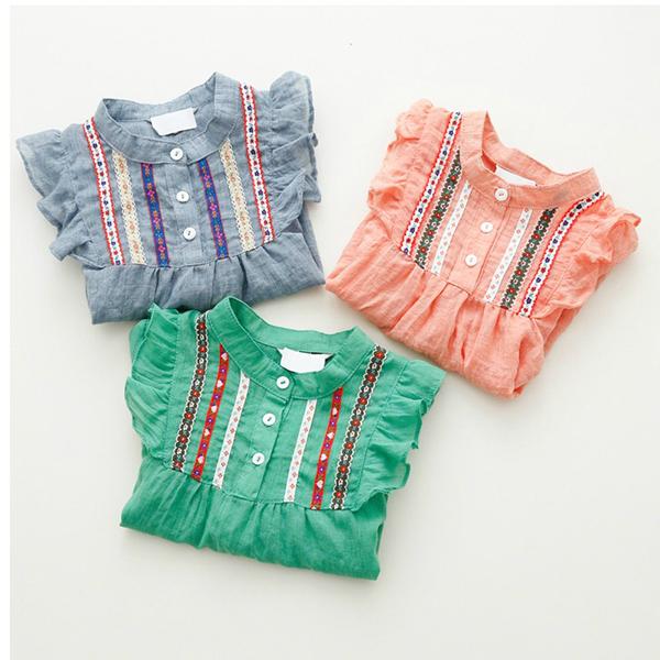 Новые Новорожденных Девочек Вышитые Рубашки С Длинным Рукавом Рюшами Топы рубашки 1-6Y