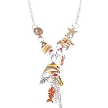 Bonsny Enamel Starfish Laut Ikan Kura-kura Maxi Kalung Liontin Pernyataan Choker Rantai Collar 2017 New Fashion Jewelry Untuk Wanita(China)