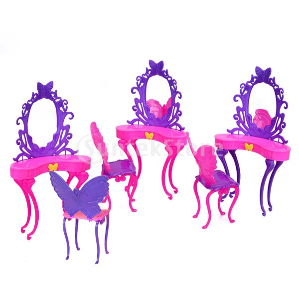 Free Shipping 5pcs Dollhouse Miniature Dressing Table And Chair - Shocking Pink and Purple(China (Mainland))