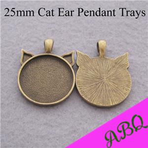 25mm Antique Bronze Cat Ear Pendant Tray, Bezel Pendant Setting, 25mm Round Cabochon Setting Tray(China (Mainland))