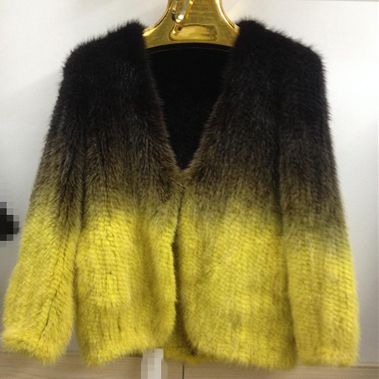 NEW 100% real fur vest, cardigan knit mink fur coat, fur coat winter fashion female gradient color EY-33Одежда и ак�е��уары<br><br><br>Aliexpress