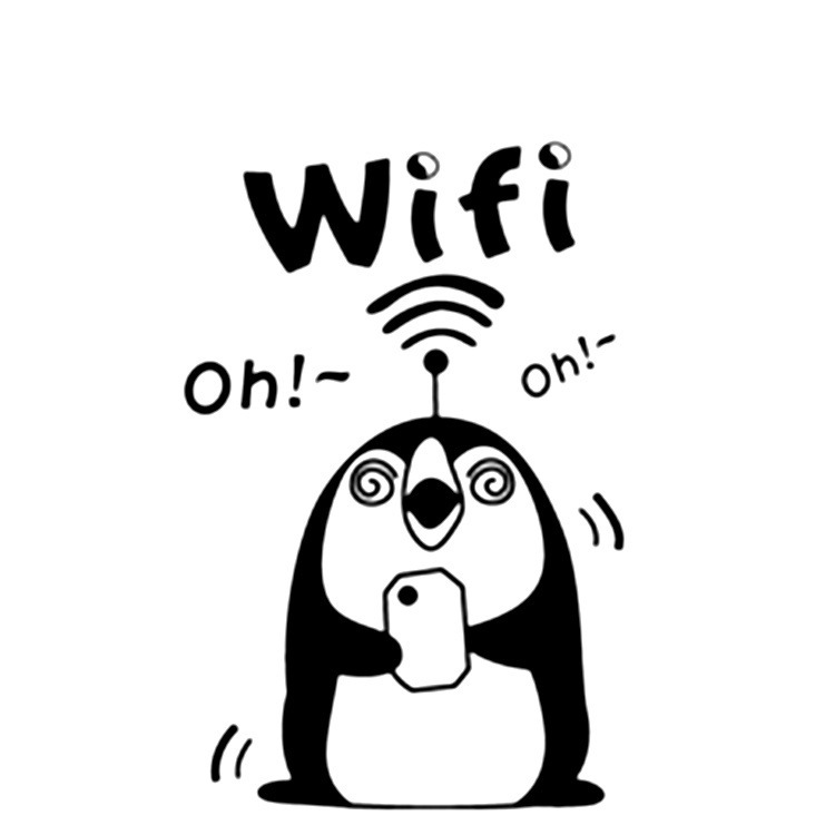 Penguin Wifi Restaurant Company Logo Signs In Public Places Wifi Removable Wall Stickers New(China (Mainland))