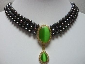 Charm 3 row 6-7mm Black   Freshwater  pearl &18GKP opal Cat' s eye Green  pendant Bridal wedding Jewelry necklace