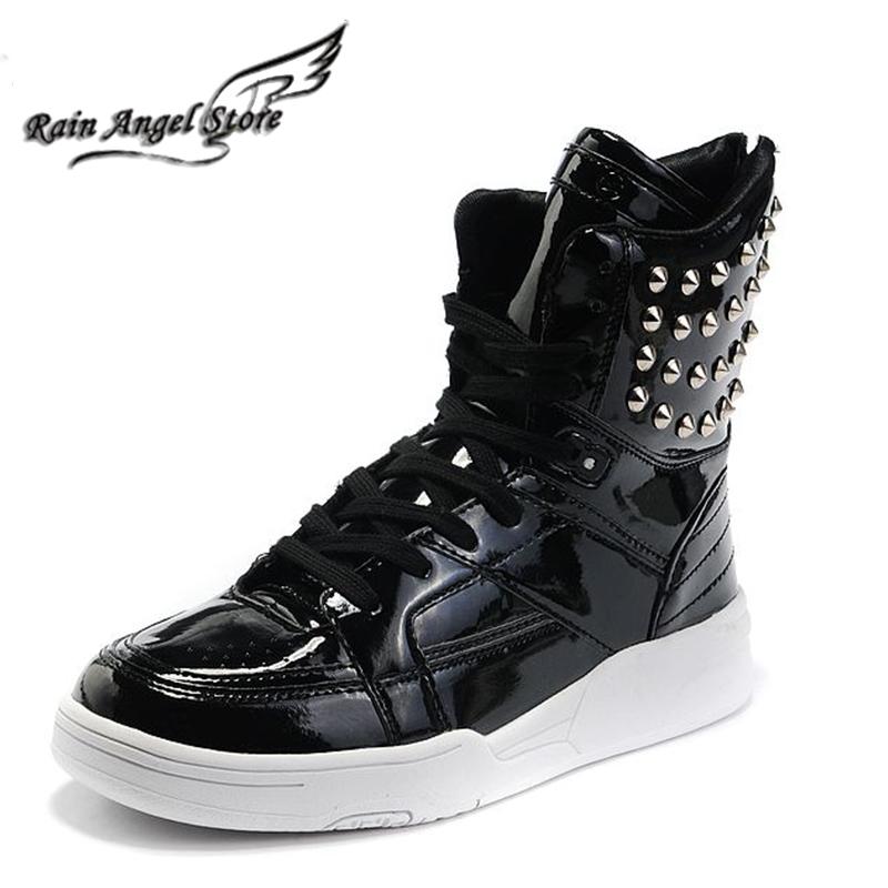 rivet boots high top solid color s hip hop