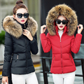 Womens Winter Jackets Coats 2016 Women s Parkas Thick Warm Faux Fur Collar Hooded Black Red