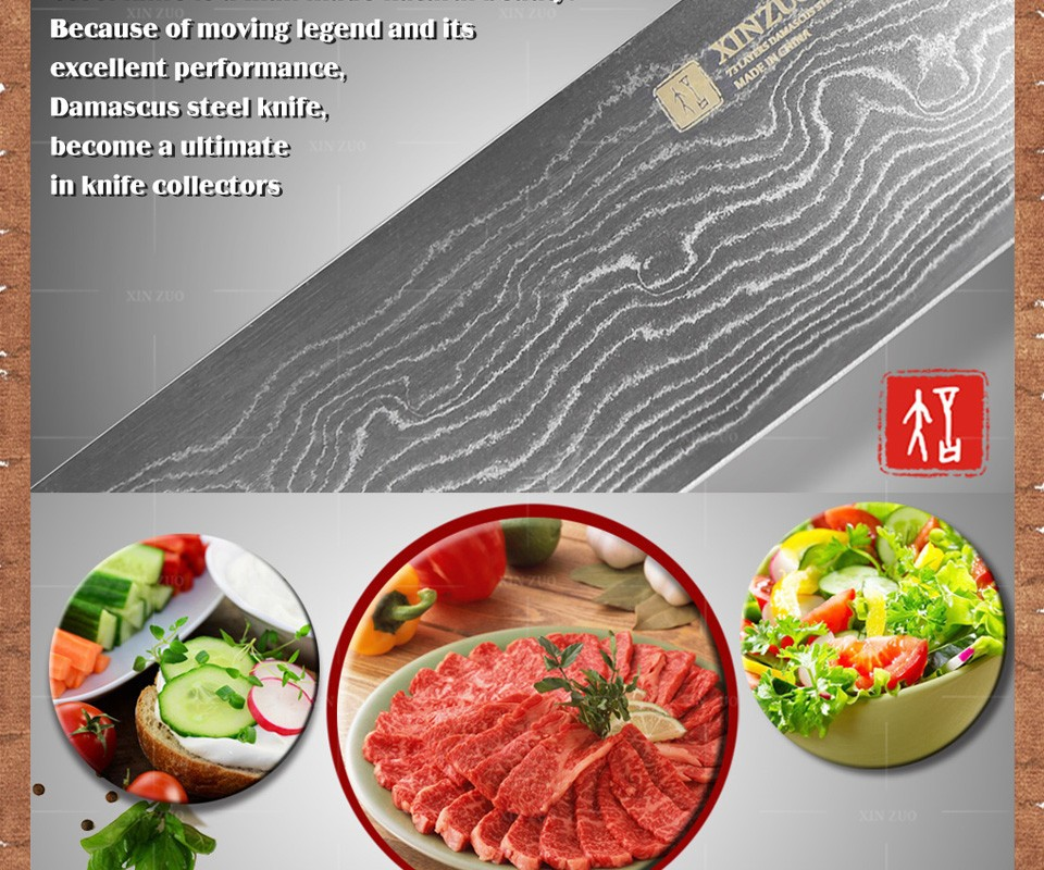 "Buy 7"" inch chef Kitchen knife 73 Layers VG10 Damascus Steel kitchen knife cook knife with color wood stainless handle free shipping cheap"