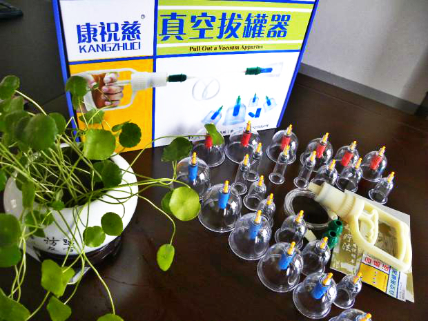 2015 24 cup concentrated biomagnetic Chinese cupping therapy aspirating gas canister set(China (Mainland))