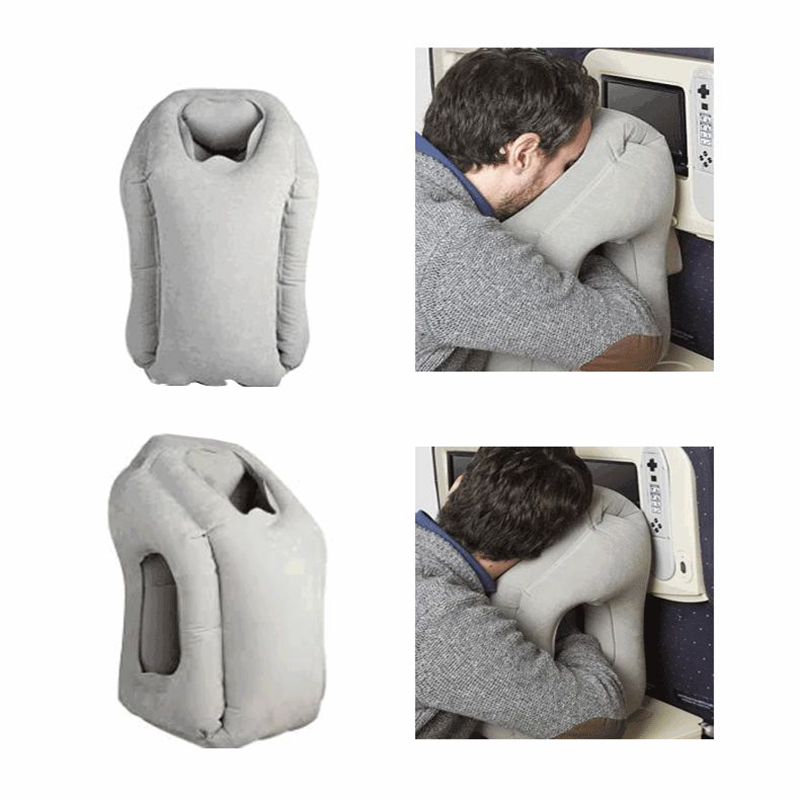 Free Shipping 50*35cm Inflatable Travel Pillow Cushion Innovative Pillow for Traveling Airplane Pillows Neck Chin Head Support(China (Mainland))