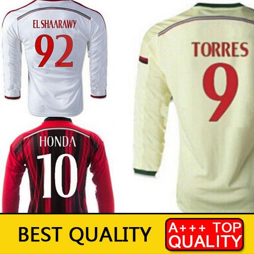 Top Thai Quality AC Milan Long Sleeve 14 15 TORRES KAKA HONDA JERSEY AC MILAN Tracksuit 2015 AC MILAN Training Soccer Jersey(China (Mainland))