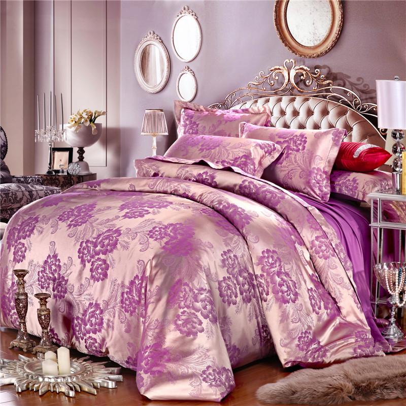 Duvet Cover Set Luxury Jacquard Satin King Queen 4pcs/6pcs Silk Bedding Set Bed Sheet Set Floral Pattern Bed Linen Gold Purple(China (Mainland))