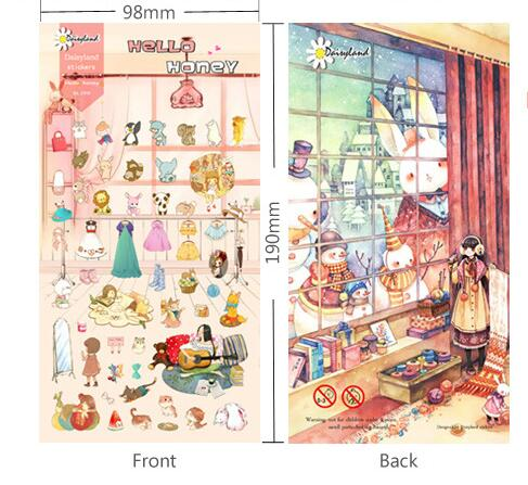 Sweet girls life pattern mini paper decoration sticker 9.8*19cm DIY scrapbook diary album supplies 3pcs/lot free shipping(China (Mainland))