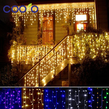 christmas outdoor decoration 3.5m Droop 0.3-0.5m curtain icicle string led lights 220V New year Garden Xmas Wedding Party(China (Mainland))