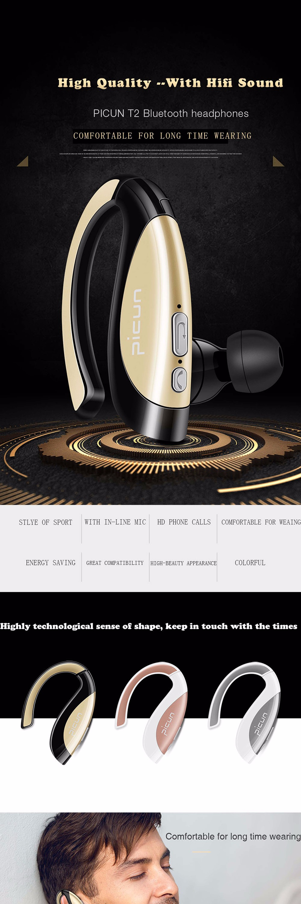 sound intone t2 bluetooth headset wireless earphones stereo music earphone with microphone for. Black Bedroom Furniture Sets. Home Design Ideas