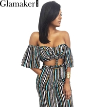 Glamaker Spring off shoulder two piece striped loose pants Sexy slim casual jumpsuit romper Cool summer elegant jumpsuit(China (Mainland))
