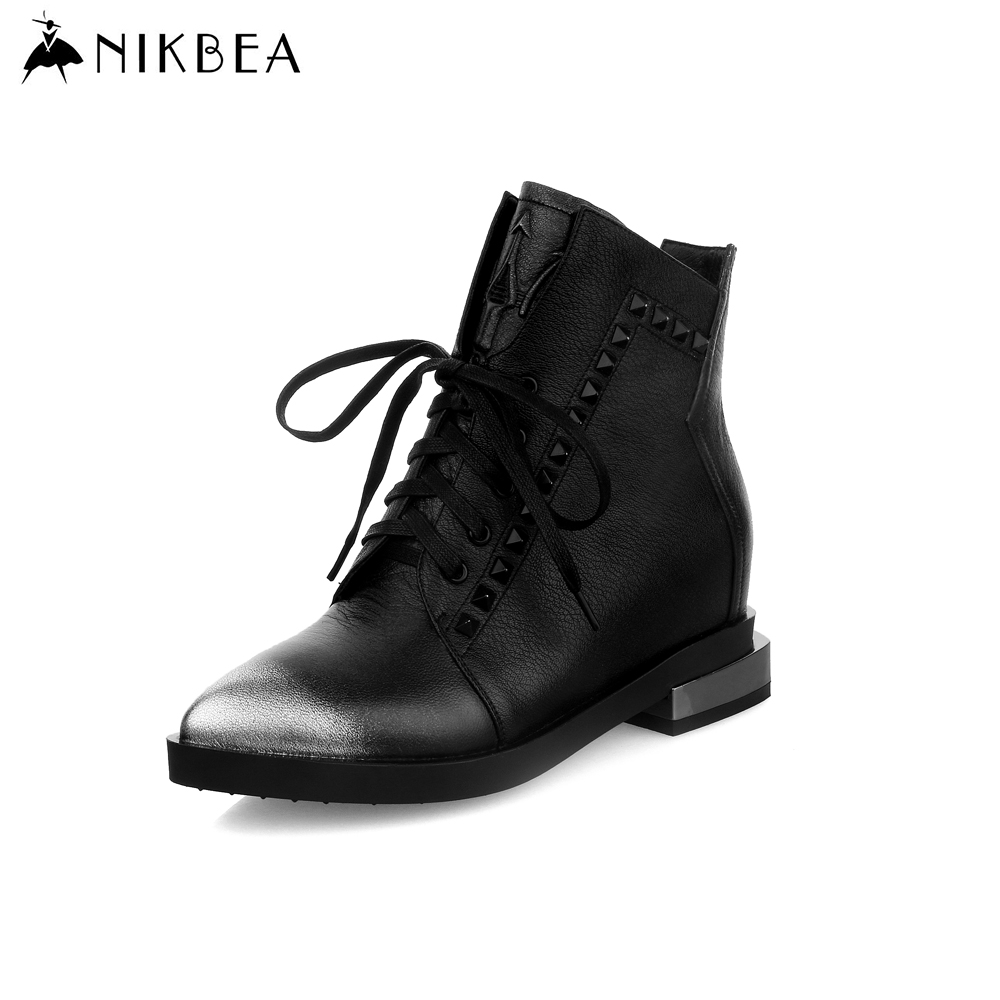 2016 Nikbea Black Ankle Boots Genuine Leather Boots Women Lace Up Punk Boots Rivet Flats Ladies Booties Mujer Autumn Winter(China (Mainland))