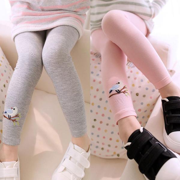 Baby Kids Girls Cotton Pants Embroidery Bird Warm Stretchy Leggings Trousers 2015(China (Mainland))