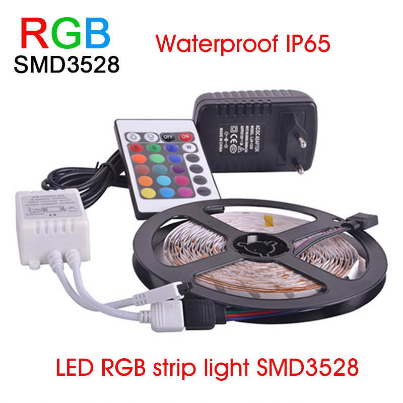 LED RGB strip light SMD3528 Waterproof IP65 Light 60LED/M 5M DC 12V Adapter Power 2A led strip waterproof christmas Freeshipping<br><br>Aliexpress