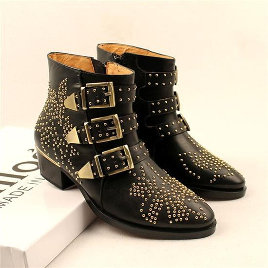 100% Genuine Leather Women Studded Ankle Boots,Name Brand Buckle Boots,European New Fashion Vintage Ladies Boots Free Shipping(China (Mainland))