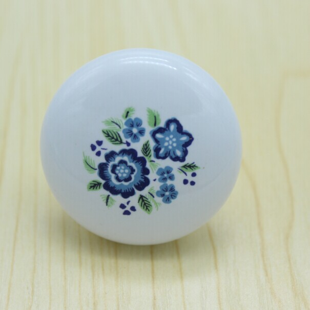 38mm ceramic kitchen cabinet knobs blue and white porcelain drawer