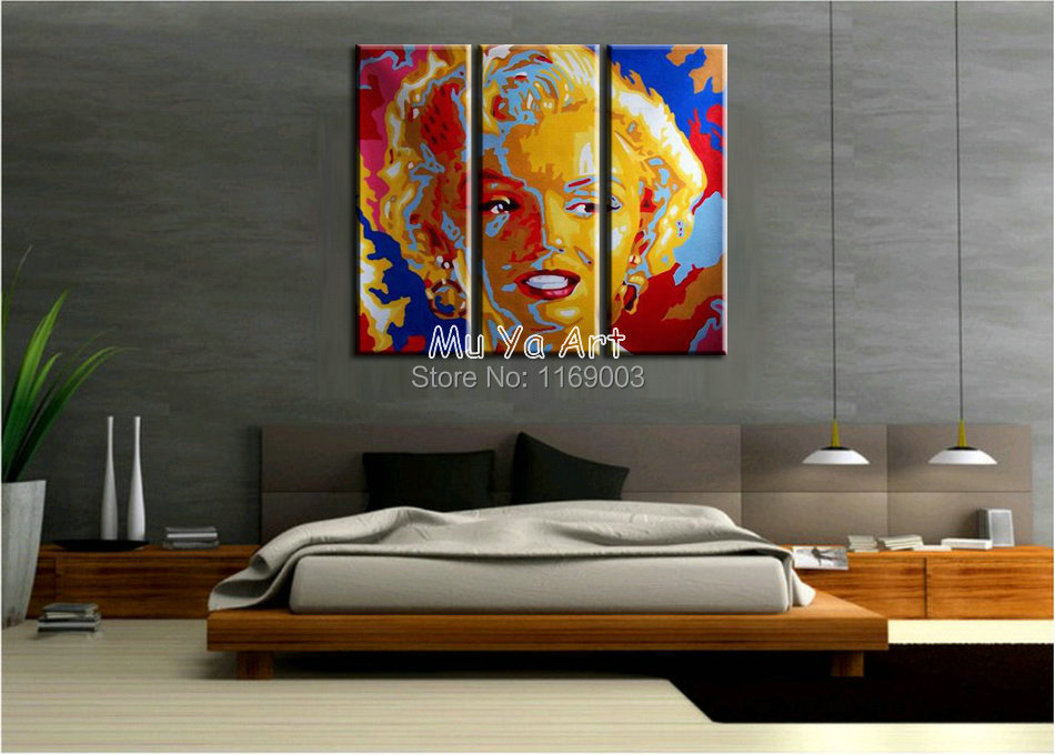 3 Panel Canvas Wall Art Abstract Modern Colorful Marilyn Monroe Pop Art Oil Handmade Painting On