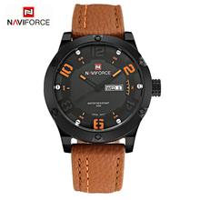 2016 Top Sports Watches Men Luxury Brand NAVIFORCE Fashion Casual Leather Strap Analog Men's Quartz Watch Waterproof Wristwatch