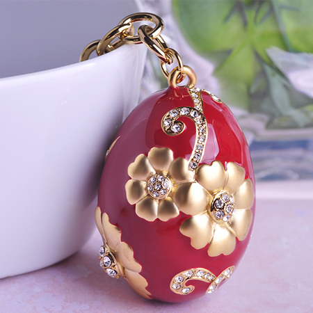 2015 New Fashion Enamel Esmaltes Keychain Deliacte Luck Eggs Keyrings Personality Key Accessories Porte Clef Blue Red Two Colors(China (Mainland))